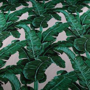 50 * 142cm feuille de bananier de palme verte de coton imprimé tissu, tissu 100% coton popeline pour la robe de bricolage couture, patchwork enfants Fiche tissu