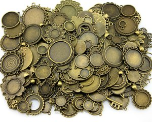 100gram Mix Designs Argent en alliage de zinc Bronze Antique Antique Pendentif Blank Cameo Cabochon base Accessoires de bijoux de réglage