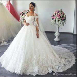 2021 Очаровательное кружево Свадебные платья с плеч развестный Поезд Аппликации Сад Часовня Свадебные платья Арабский Vestido de Novia Plus Размер