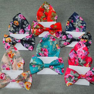 Floral Printed Men Bowtie Pocket Square Sets Part Casual Adjustable Adult 100% Cotton Bow Ties Hanky Handkerchief Lot