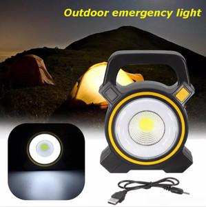 Las luces solares Powered USB portátil 30W LED Linternas reflector de la luz de inundación del punto COB LED recargable al aire libre Trabajo lámpara del punto 2400LM
