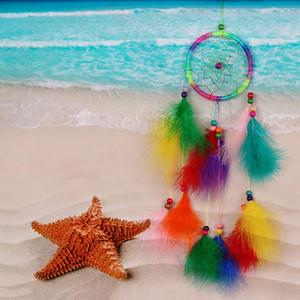 Coloré à la main Dream Catcher Net avec carillons éoliens Plumes Tenture suspendue décorations suspendues Dreamcatcher Artisanat cadeau
