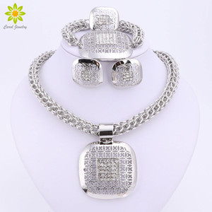 whole saleDubai Silver Plated Fine African  Jewelry Sets Nigerian Wedding Accessories Bridal Collar Costume Earrings Necklace Set