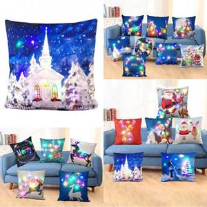 45 * 45cm Frohe Weihnachten LED leuchtet glühenden Pillowcase Weihnachtsmann Kissenbezug Super Soft für Sofa, Stuhl, Kopfkissenbezug