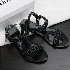2018 nuova estate catena di plastica scarpe da spiaggia caramelle color gelatina sandali catena piatta con bottoming sandali
