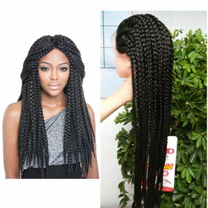 Synthetic Braids Box Braids Wig Lace Front Wigs for Women with Black Bangs Long twist Hair Heat Resistant Fiber 22 30inch