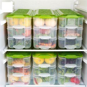 Vente en gros 1 PCS Multilayer Rectangle alimentaire Boîtes de rangement transparentes fruits de mer préservation Box Set Outils de cuisine
