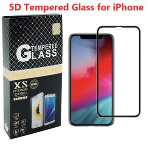 5D الزجاج المقسى ل iPhone Xs كحد أقصى xr 8 8plus 7 6S زائد غطاء كامل منحني حافة عالية الجودة حامي الشاشة مع حزمة البيع بالتجزئة تنقش