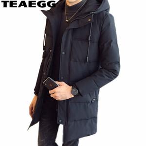 TEAEGG Nero Army Green Mens Giacche Invernali E Cappotti Cappotto Trench Coat Uomini Giacca Lungo Plus Size Manteau Homme Hiver AL1500
