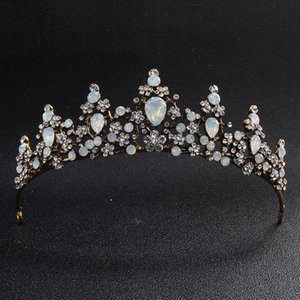 Klasik Opal Taşlar Siyah Altın Çelenkler ve Taçlar Düğün Saç Aksesuarları Kraliçe Kafa Takı Kadınlar Diadem gelinin Tiara JCI021