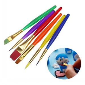 6 unids / set Colorido Fondant Cake Brushes Decoración Herramientas de Pintura Promoción Icing Set Dusting Pastelería Cocina Herramienta