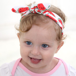 VENTE CHAUDE 6colors 67 * oreille 5CM lapin bébé Fruits de bricolage Satin Hair Bands mignon Pastèque style Dot Dot bowknot Couvre-chef lapin oreille Couvre-chef BE4