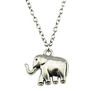 WYSIWYG 5 Pieces Metal Chain Necklaces Pendants Vintage Necklace Handmade Elephant 21x18x5mm N2-B10059
