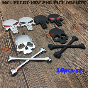 10 unids nuevo 3D Metal The Punisher Skull Emblem Badge Pegatinas y calcomanías de automóviles Auto Truck Accesorios de automóviles para motocicletas Automóviles
