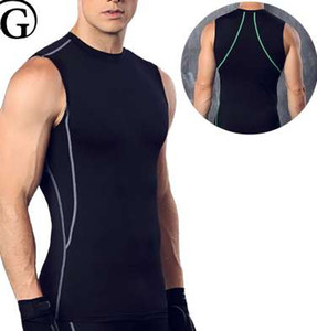 PRAYGER Männer Body Shaper Atmungsaktive Unterwäsche O Neck Weste Brustmappe Ärmelloses T-shirt Abnehmen Taille Korsett Top