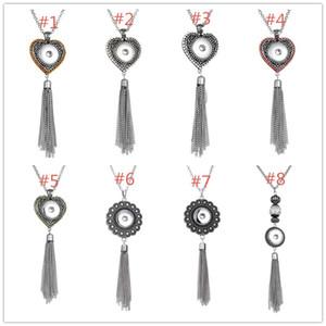 8 estilos Noosa chunks Heart Snap Button Necklace Bohemia Crystal borlas colgante DIY intercambiables 18 mm Snap botones joyería