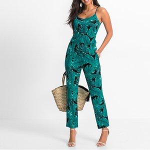 Green Leaf Impreso Verano Playa Mamelucos Backless Mujeres Monos Tight Pantalones Largos Sexy V-cuello Vendaje Prendas de vestir de la vendimia Trajes