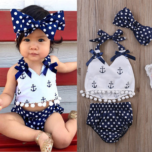 Toddler Infant Baby Girls Clothes Sleeveless Suit Anchors Tops Shirt Polka Dot Briefs With Head Band 3pcs Outfits Set