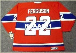 Mens # 22 JOHN FERGUSON Montreal Canadiens 1968 CCM Vintage Retro Home Hockey Jersey o personalizada cualquier nombre o número retro Jersey