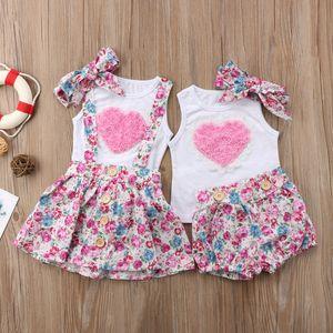 Florales de los niños de los bebés de la hermana de vestir trajes de ropa pantalones de la camiseta del chaleco / Faldas diadema rosa 3pcs de la familia del corazón a juego ropa del niño