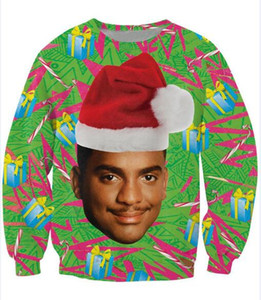 Wholesale Free Shipping Women Men 3d jumper Fresh Prince Crewneck Sweatshirt Will Smith With Christmas hat Fashion Pullover Tops