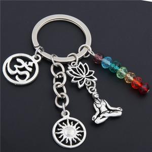 1 adet Gökkuşağı Sembolü Anahtarlık Gümüş Anahtarlık Yoga Çakra Anahtar Zincirleri Güneş Charms Lotus Ohm Takı E1652