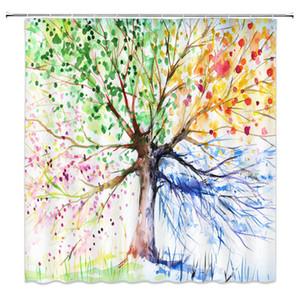 Tende di acquazzone del grande albero colorato caldo Tema della pianta Accessori della decorazione del bagno 69 x 70 pollici Tenda impermeabile del bagno del panno di poliestere a buon mercato