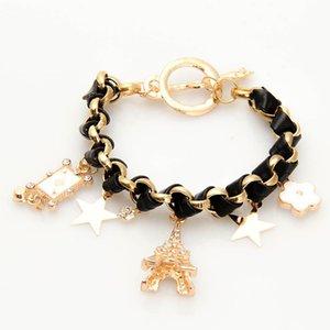 1pc/lot High Quality Eiffel Tower Stars Flowers Playing Cards Leather Rope Bracelets Fashion Creativity Women Bracelets Jewelry