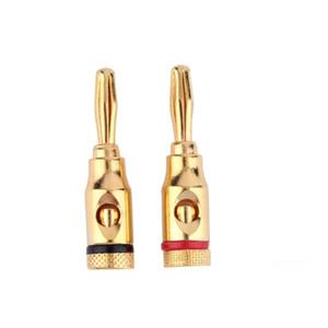 Boa Qualidade e 100% Brand New 20 pçs / lote Banhado A Ouro Plugue De Áudio Speaker 4 MM Conector De Banana