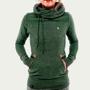Große größe mode langarm tasche bestickt damen mit kapuze plus samt pullover herbst neue gerade einfarbig mantel pullover