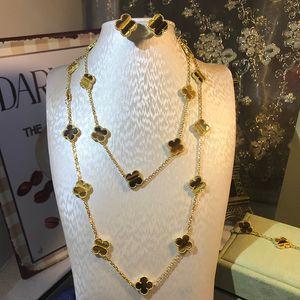 Marke 925 Silber vier Blatt Blume Schmuck-Set für Frauen Hochzeit Halskette Armband Ohrringe braun Tiger Eye Clover Mutter Shell CZ Schmuck