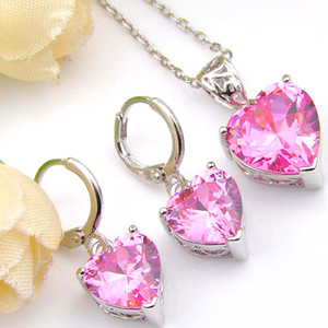 6 комплектов / серия Wedding ювелирные изделия Подвески Серьги Наборы сердца Розовый Кунсайт Gems 925 серебряные ожерелья Cz Циркон Jewelty Наборы для женских