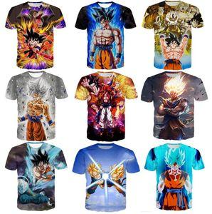Neueste Art und Weise Anime Dragon Ball Z Goku 3D T Shirts Mode-Sommer-Männer Frauen Super Saiyan Vegeta T Tops Bekleidung