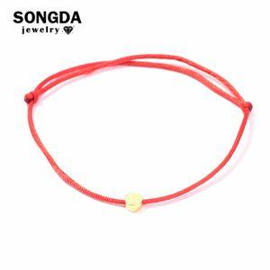 Círculo de Oro Songda nuevo estilo 24K real Pulsera Multicolor cuerda pulseras de la suerte de Cuerda ajustable para mujeres Hombres Niños joyería fina