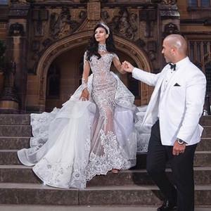 Vestido vestido de novia Crystal Rhinestone de lujo de cuello alto de manga larga de los granos del Applique nupcial de la sirena del vestido de boda magnífico Dubai sobrefalda