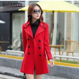 HCYO Women Long Wool Coats Autumen Winter Women's Wool Coat Double Breasted Slim Outwear Coat Elegant Bodycon Long Overcoat Tops