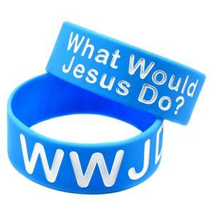 OneBandaHouse 1PC largo 1 pollice del braccialetto del silicone Luce fascia blu WWJD Cosa farebbe Gesù Moda Classic Bangle