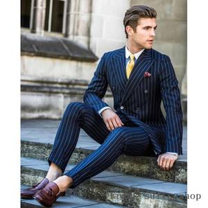 Listra Azul Marinho Double Breasted Terno Dos Homens Para O Casamento 2 peças Slim Fit Smoking Masculino Noivo Dos Homens Do Baile de finalistas Ternos (Jacket + Pants + Tie)