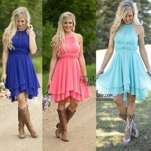 2021 Country Coral Brautjungfer Kleider Jewel Chiffon Knielange Hochzeit Guest Trage-Party Brautjungfernkleider Düster von Honor Gowns unter 60