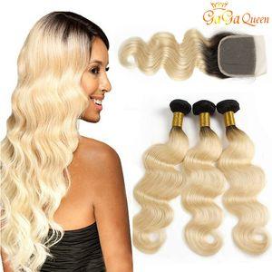 El cierre de encaje 4x4 Con 1B 613 Cuerpo pelo de la onda Roots paquetes oscuros Honey Blonde Virgen del pelo humano