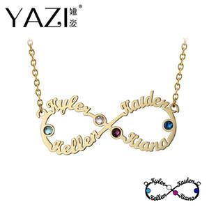 Yazi einzigartige Infinity Halskette mit vier Namen und Birthstone personalisierte Namen Anhänger für Familie benutzerdefinierte Infinity Schmuck Geschenk