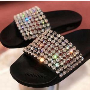Moda Black Cristal-embelezado Slides sandálias das mulheres dos homens de verão ao ar livre praia causal chinelos chinelos interior com caixa
