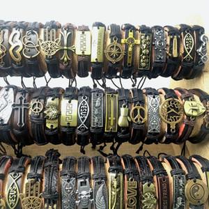 Pulseras de moda de las mujeres encanto punk retro hecho a mano capa negro marrón hombres joyería de cuero armadura de la vendimia pulseras para accesorios de aleación de regalo