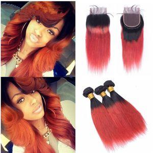 ombre Cheveux humains 3Bordures avec une fermeture Ombre Cheveux vierges brésiliens Droite Avec fermeture en dentelle Deux tons ombre 1B 350 # couleur orange