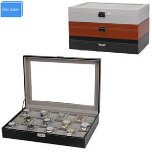 Noir / brun / blanc PU vitrine en cuir pour marque bijoux montre boîte cas 24 grilles boîte de rangement organisateur montre collection boîte cas Chine vendre