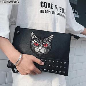 Mode de chat original style broderie main main sac grande capacité rivets sac à bandoulière street fashion broderie cuir main