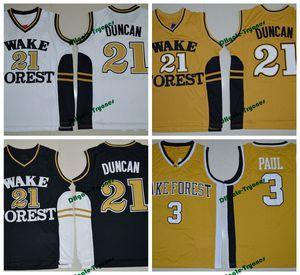 Wake Forest Dämon Deacons College Basketball Trikots Tim Duncan Chris Paul Hemden Günstige Universität genäht Basketball Jersey S-XXL