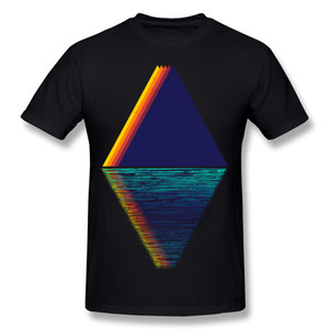 Drop Shipping Adult Cotton Reflected Mountains Rainbow on The Lake T-Shirt Adult Round Collar Green Short Sleeve T Shirts S-6XL Design T-Shi
