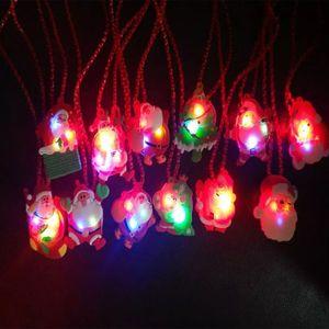 2018 LED Luz de Navidad para arriba parpadeante collar niños niños brillan Cartoon Santa Claus colgante fiesta de Navidad vestido decoraciones regalos HH7-850