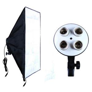 Équipement photographique Photo Studio Kit de boîte à lumière Vidéo Porte-lampe à quatre bouchons Éclairage + Boîte photo Softbox 50 * 70cm